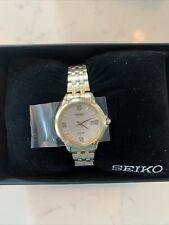 Authentic Seiko Women's Essential Analog Solar Gold Tone Watch SUT350