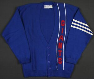 New York Giants Vintage 80's Cliff Engle NFL Cardigan Sweater Large