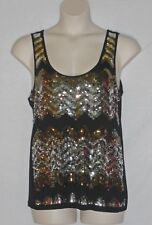 A.N.A. SEQUINED TANK TOP – BLACK SPARKLY SILVER & GOLD – SIZE PXL (PETITE) - EXC