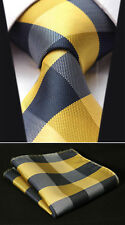 "TC4029Y8S Yellow Check 3.4"" Silk Woven Men Tie Necktie Handkerchief Set"