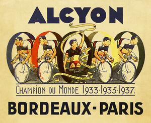 Alcyon Bordeaux-Paris Vintage Bicycle Poster Print Art Advertisement - Cycling