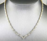 Fancy Round Diamond V Shape Woman's Tennis Necklace 18K Yellow Gold 13.88Ct