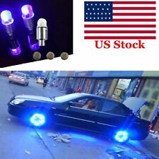 Universal 4x Blue LED Autos Wheel Tyre Tire Air Valve Stem Cap LED Light Lamp US