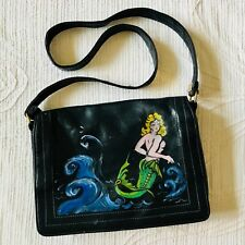 Mermaid Leather Hand Bag Dark Blue Leather USA Markay Bags Vintage Hand Painted