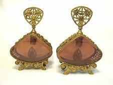 VINTAGE LARGE ORMOLU FOOTED PERFUME BOTTLES SET 2 UNSIGNED GOLD GILT AMBER GLASS