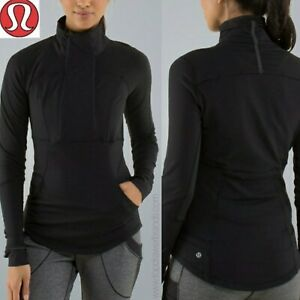 LULULEMON UK 10 S/M US 6 Base Runner 1/2 Zip Black Long Sleeve Jacket £88