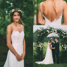 Applique Backless Bohemian Vintage Wedding Dresses Country Beach Bridal Gown