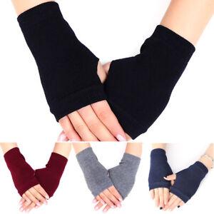 Womens Girls Fingerless Arm Warmer Winter Gloves Wrist Hand Long Soft Mittens