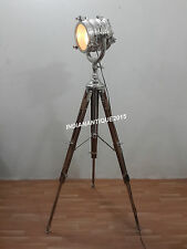 HOLLYWOOD DESIGNER CHROME SPOT LIGHT FLOOR LAMP WITH TRIPOD STAND
