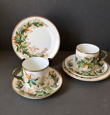 Victorian Pair Ivy Pattern Tea Trio Cup & Saucer, Plate