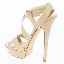 JIMMY CHOO 'vamp' NUDE PATENT SANDALS HEELS SHOES STRAPPY STILETTO UK 8 Eu 41