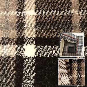 Clearance   New Carpet 15mm Thick Luxury Soft Checked Tartan Black/Grey Carpets