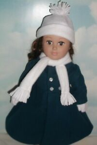 """BLUE/GREEN COAT, 4 PIECE HAT SET made for 18"""" AMERICAN GIRL, MY GENERATION DOLLS"""