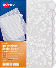 Avery Insertable Style Edge Plastic Dividers 8 Tabs Floral Fashion Divider