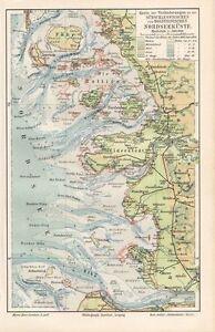 Veränderungen an der NORDSEEKÜSTE Amrum Föhr Pellworm Sylt   Landkarte 1910