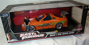 FAST & FURIOUS Brian & 1995 Toyota Supra Orange 1/18 SCALE Working Lights 31139