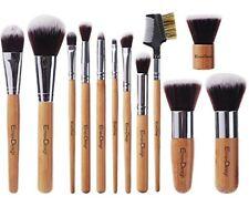 Set De Pinceles Y Brochas Maquillaje Profesional Mango De Bambú Fibra Sintética
