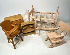 """Vintage Strombecker Wood Dollhouse Bedroom Bunk Bed Furniture Japan for 11"""" Doll"""