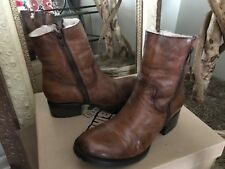 Freebird By Steven Alamo Women's Cognac Leather Shearling Zipper Boot 6M $275