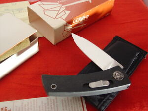 "Gerber USA Made BOLT ACTION 4.25"" Side Lock Knife & Sheath MIB ld"