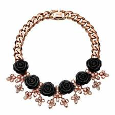 New Mawi Black Rose and Crystal Sprig Statement Chain Necklace - RRP £565