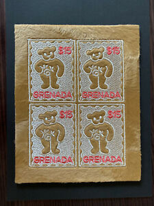 Grenade 2003 Teddy Bear M/S MNH Unusual Stamp (Embroidery)