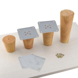 Oak Wood Sofa Legs Feet Slanting Straight With Metal Plate Furniture