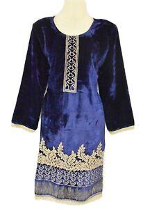 New Navy Blue Velvet Designer Dress Kurta Kurti Kameez Top Suit Bollywood Asian