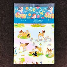 Vintage Disney Wrapping Paper Bambi Thumper Snow White Prince Charming Lot