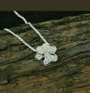 0.35ct Round Diamond 14k White Gold Over Paw Print Pendant Necklace For Womens