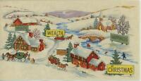 VINTAGE CHRISTMAS CHEER HEALTH WEALTH HAPPINESS CHURCH VILLAGE GREETING CARD