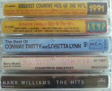 Lot of 5 Country Cassettes Hank Williams Conway Twitty Wynette Willie Nelson New
