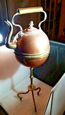 Large Antique Copper and  Brass  Samovar Tea Kettle On Floor Stand