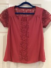 Pretty Lace Trimmed Short Sleeve Viscose Top From Debenhams Size 12 Dark Coral.