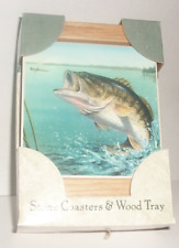 Largemouth Bass Absorbastone Coasters in a Wood Tray Fish