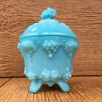 Vintage Blue Milk Glass / MilkGlass Grapes & Ivy Covered Candy Dish Footed Bowl
