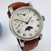 PARNIS 42mm White Dial Moon Phase GMT Hand Winding Men's Watch Leather Strap