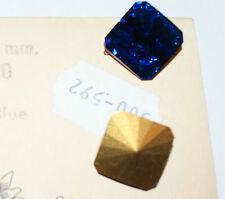 24 Pz  Cabochon Quadrato SWAROVSKI ®  4650 -18 mm. Capri Blu Gold Folied Vintage