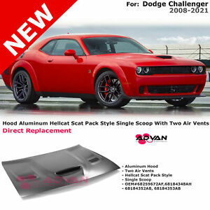 Aluminum Hood Hellcat Scat Pack Style With Scoop For Dodge Challenger 08-21