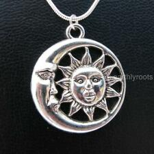 """Exquisite Sun and Moon cresent pendant with 18""""sterling silver snake chain"""
