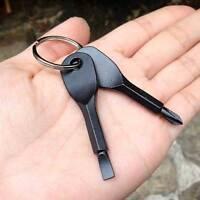Porta chiavi+set 2x giravite giraviti portachiavi cacciavite acciaio inox NERO