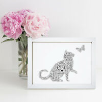 Personalised Word Wall Art Cloud Cat Lover Pet Picture Print Gift Present Frame