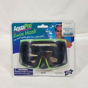 New Sealed Vintage AquaPro Swim Mask Goggles Green Black