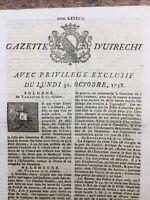 Rare Bataille de Hochkirch 1758 Allemagne Gazette d'Utrecht Berlin Stuttgart