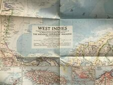 Vintage National Geographic Magazine March 1954 Map Of The West Indies