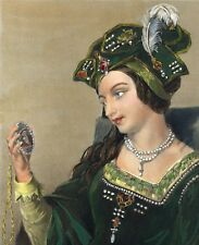 ANNE BOLEYN Hand Colored 1862 engraving with hubby Henry VIII