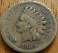 1859 Indian Head One Cent 1c G ***Check It Out!!! KM# 90a #AA135-7
