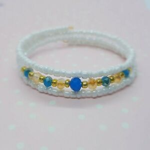 Simple Bead Layering Bracelet ~ White Blue Gold ~ Perfect for Summer