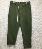 Women's gap boyfriend pants olive green button fly Size 4/27 petite with pockets