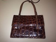 TRIOMPHE FRANCE FOR BAMBERGER'S CROCODILE BROWN LADIES PURSE HANDBAG 1960'S
